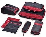 旅行大好き! 収納7点 スーツケースにすっきり収まる! /手軽/時短/コンパクト/応用便利/旅行グッズ/旅行/出張 (レッド×ブラック)(赤・黒)