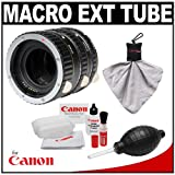 Vivitar Macro Extension Tube Set with Canon Cleaning Kit for Canon EOS 1D X, 5D III, 7D, 60D, T2i, T3 & T3i Digital SLR Cameras