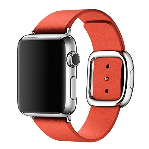 Apple Watch cinturino,38mm Sumin® Modern Buckle Genuine Leather cinturino with Double Button Magnetic Closure Replacement Wristcinturino Strap Bracelet for Apple Watch All Models 38mm - Red