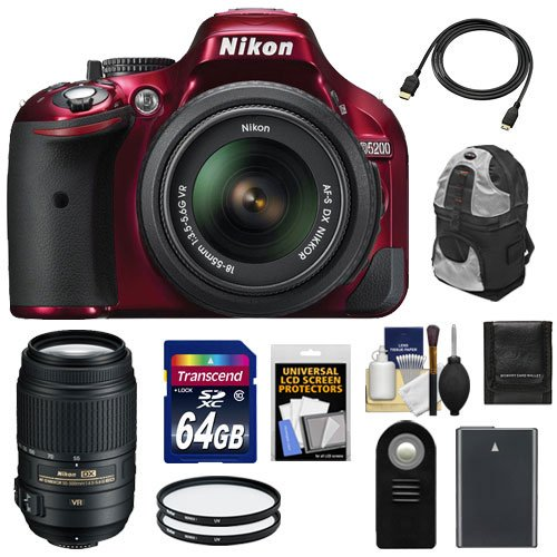 Nikon D5200 Digital Slr Camera & 18-55Mm G Vr Dx Af-S Zoom Lens (Red) With 55-300Mm Vr Lens + 64Gb Card + Battery + Backpack Case + Filters + Accessory Kit