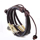Wild Wind (TM) Unique Metal Flower Pendant Metal Tube Leather Adjustable Wrap Bracelet