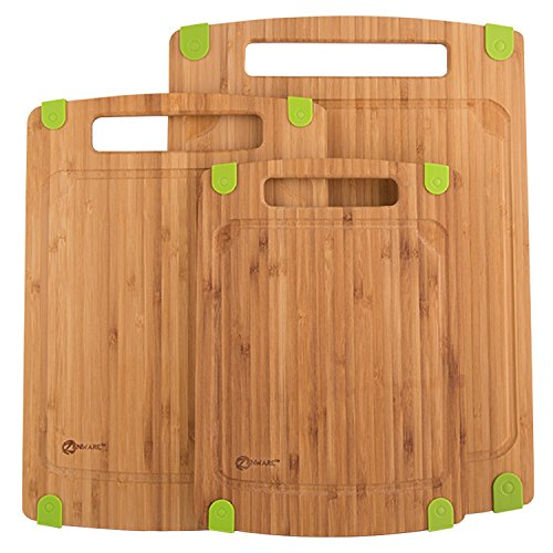 Zenware 3 Piece Triple-Ply Warp Resistant All Natural Bamboo Cutting Board with Juice Groove (Bamboo Cutting Board With Groove compare prices)