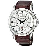 Seiko Men's Premier SNQ105 Brown Leather Quartz Watch with Silver Dial