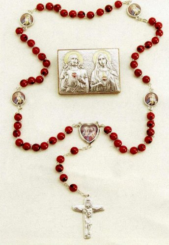 Specialty Rosary - Sacred Heart of Jesus and Immaculate Heart of Mary Rosary and Plaque Set - 4mm Wood Beads - 22in. Chain - IMPORTED FROM ITALY