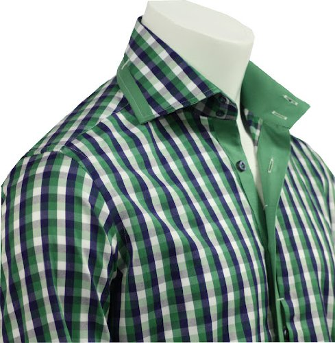 Men's Formal & Casual Italian Design Shirts Green Check Slim Fit S-4XL