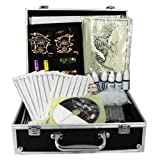 Professional Tattoo Kit 4 Machine Guns Power Supply Disposable Needles Inks (Double Black) G4