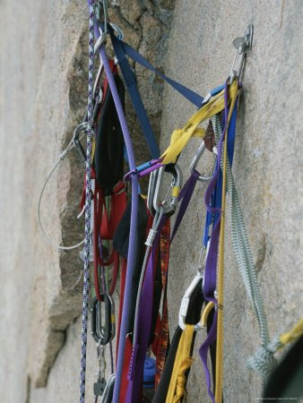 Climbing Ropes and Gear High on Great Sail Peak Artists Photographic Poster Print, 18x24