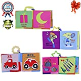 Baby First Book Keepsake Infant Baby Intelligence Development Kid Cloth Cognize Book Toy (4 pack)