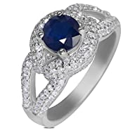 5/8cttw with Genuine Sapphire Engagement Ring in 14k White Gold