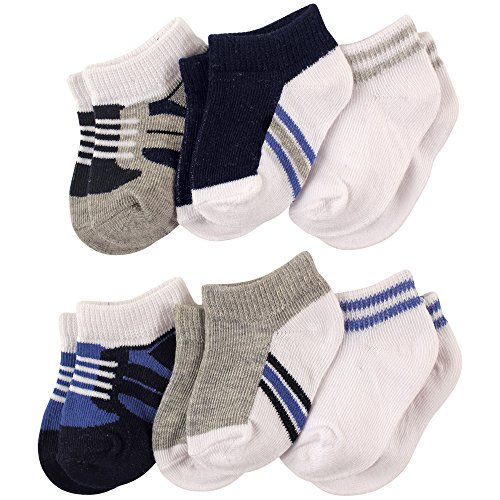 Luvable Friends Baby 6-Pack No Show Ankle Socks, Boy Shoes, 6-12 Months