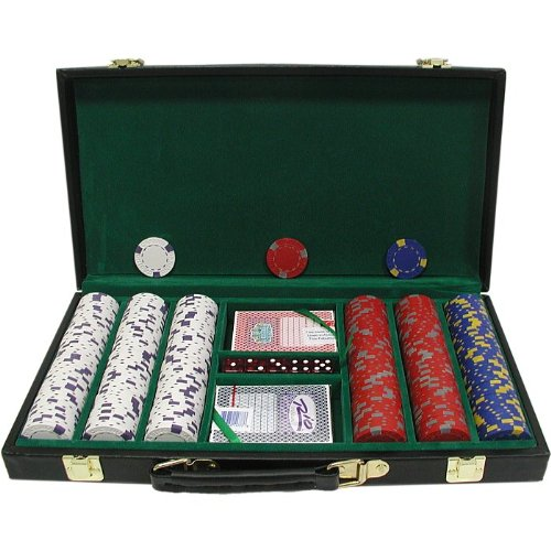 Trademark 300 13 Gm Pro Clay Casino Chips With Deluxe Case (Black) front-721126