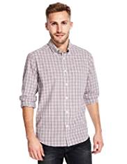 2in Longer Pure Cotton Easy Care Multi Gingham Checked Shirt