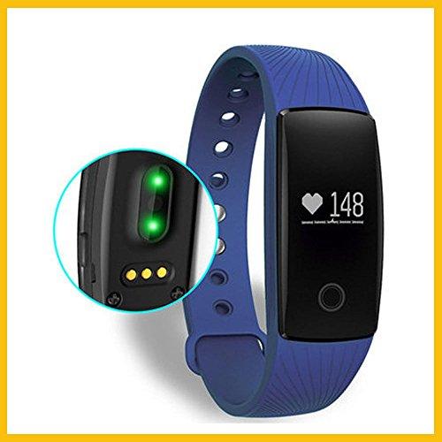 Pulseras de fitness,Smart band pulso Monitor Pulsera Fitness Tracker remota cámara para Android iOS tracker de Bluetooth (azul)