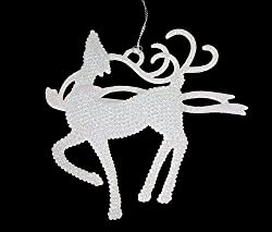 "5.25"" Winter Frost Standing Proud White Glitter Reindeer Christmas Ornament"