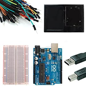 Starter Kit for Newsite Uno R3 - Bundle of 6 Items: Newsite Uno R3, Breadboard, Holder, Jumper Wires, USB Cable and 9V Battery Connector