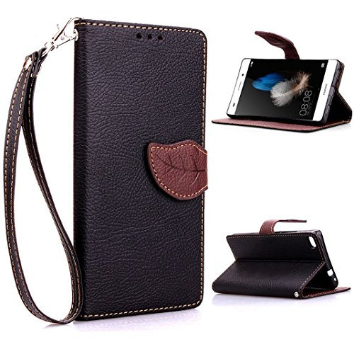 HUAWEI P8 lite 手帳型 カラフルレザーケース ( ファーウェイ 楽天モバイル SIMフリー 対応 ) 画面保護 / スタンド / ICカード収納 / ストラップホール Leaf Design TPU Case + ストラップセットBlack × Brown (黒&茶)