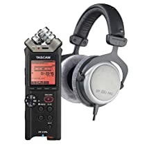 Beyerdynamic DT 880 Pro Semi-Open Circumaural Studio Headphone Bundle with Tascam DR-22WL 2-Channels Handheld Audio Recorder