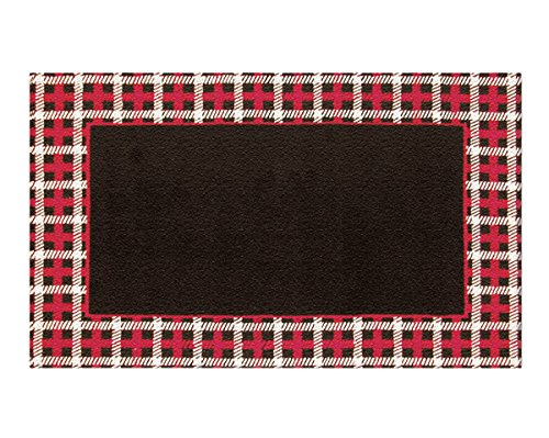 The Rug Market Cable Plaid Border Blk/Red Area Rug  Size 5.3'x8.3' - 1