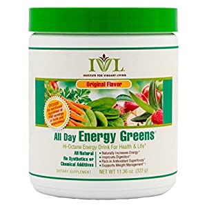 Institute for Vibrant Living All Day Energy Greens, Green Superfood Powder, 11.36 oz container, All Natural No Synthetics or Chemical Additives