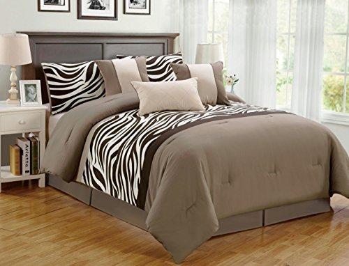 7 Piece Queen Zebra Animal Kingdom Bedding Comforter Set