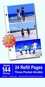 Burnes of Boston 3-Up Refill Pages for Photo Album, 4 by 6-Inch