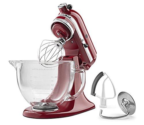 kitchenaid-ksm105gbcer-5-qt-tilt-head-stand-mixer-with-glass-bowl-and-flex-edge-beater-empire-red
