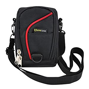 Evecase Black Digital Camera Pouch Nylon Case with Strap for Digital Cameras