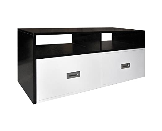 Rebecca Srl Mesas de centro 2 Cajones Madera Color Blanco Negro Estilo Moderno Salón (Cod. R20150810A)