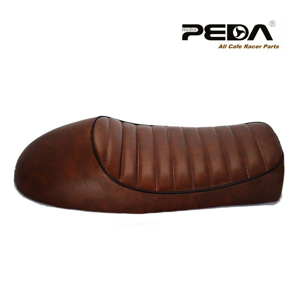 PEDA New Brown Cafe Racer Retro Locomotive Refit Motorcycle Seat Leather Waterproof Hump Seats with black Piping 0