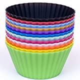 Silicone Cupcake Liners - Set Of 12 Premium Reusable Muffin Baking Cups In Container - 12 Different Colors.