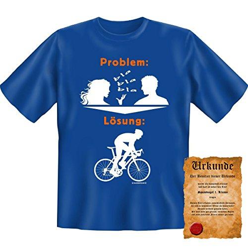 T-Shirt-Problem-Lsung-Fahrrad-Rad-Fun-Shirt-Geburtstag-Geschenk-geil-bedruckt-mit-Spassvogel-Urkunde