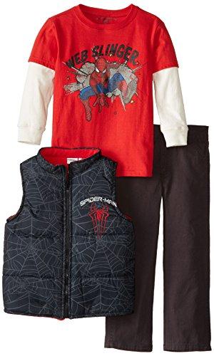 Marvel Little Boys' 3 Piece Spiderman Vest Set, Red, 4 front-1006909