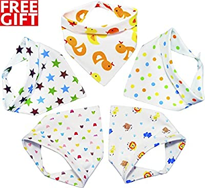 Baby Bandana Drool Bibs - Absorbent Cotton for Boys & Girls - Unisex Gift 5 Pack
