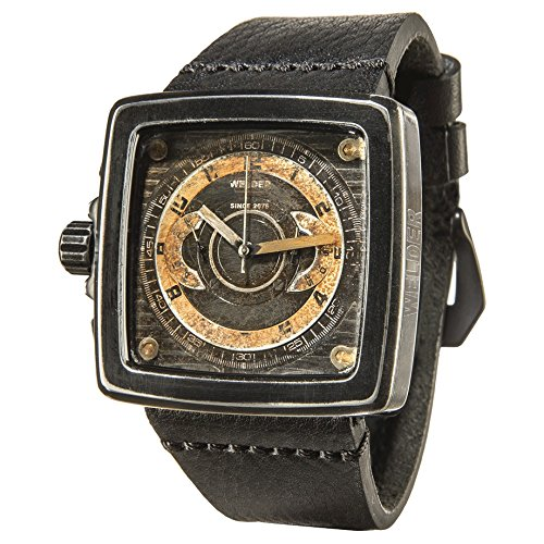 Welder K46 Unisex Quartz Watch with Black Dial Chronograph Display and Black Leather Strap K46-4009