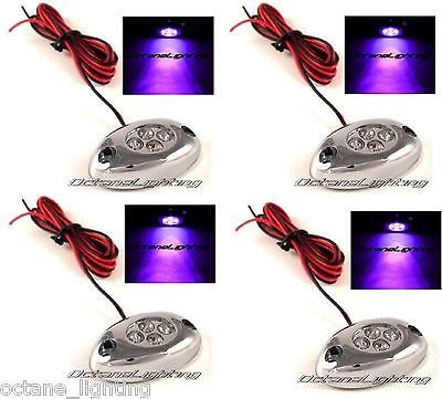 Octane Lighting 4Pc Purple Led Chrome Modules Motorcycle Car Truck Neon Under Glow Lights Pods