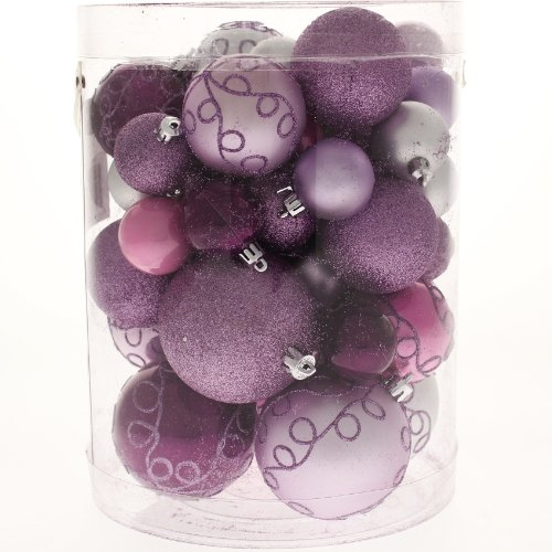 50 Piece Deluxe Christmas Tree Bauble Decoration Pack - Purple / Pink / Silver