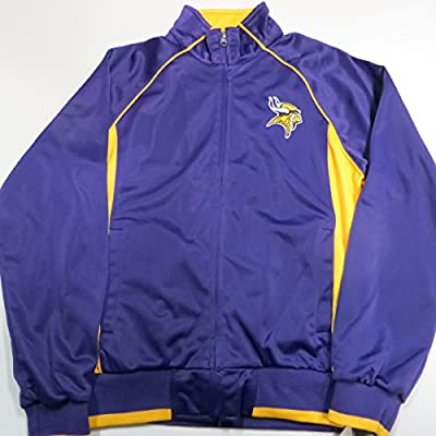 Minnesota Vikings Womens Medium Embroidered Purple and Yellow Full Zip Track Jacket AVIK 14 M