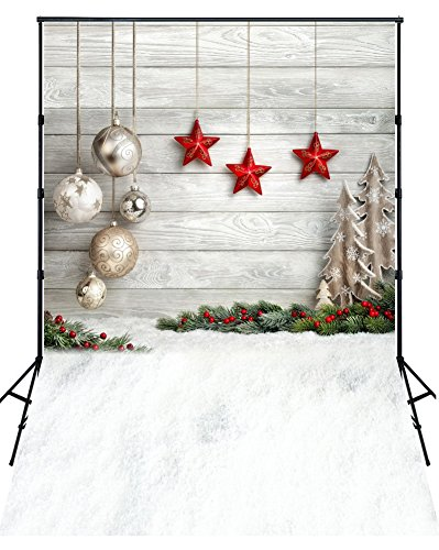 Yelewen 5x7ft Christmas Balls Red Stars Hang on Wood Wall & Snow Ground Thin Vinyl Customized Digital Printed Photography Backdrop Prop Photo Background