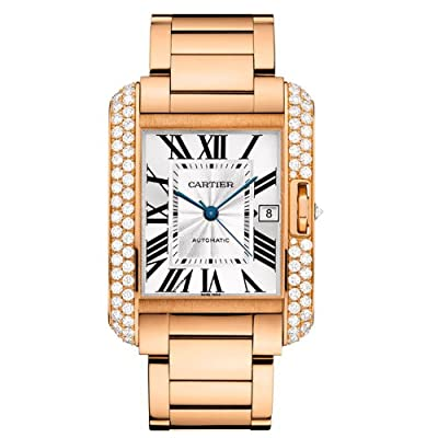 Cartier 18k Rose Gold & Diamond Tank Anglaise Men's Watch WT100004