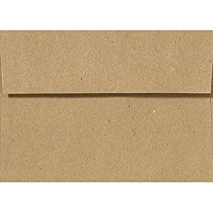 A7 Invitation Kraft Envelopes w/Peel & Press (5 1/4 x 7 1/4) - 100% Recycled - Kraft Brown (50 Qty.)