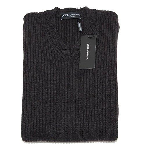 5104M maglione uomo DOLCE&GABBANA D&G marrone grigio lana men jumpers [46]