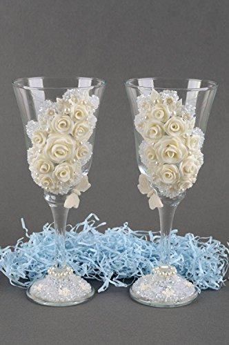 Verres à champagne fait main Vaisselle en verre 2 pcs Cadeau mariage avec décor
