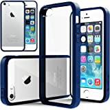 [Fusion Clear] Caseology Apple iPhone 5 / 5S [Navy Blue] Scratch-Resistant Clear Slim Fit Cover with Shock Absorbent TPU Hybrid Bumper Protection Case [Made in Korea] (for Verizon, AT&T Sprint, T-mobile, Unlocked)