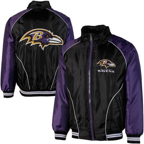 NFL Baltimore Ravens Touchdown Full Zip Hooded Jacket - Black/Purple (Large) at Amazon.com