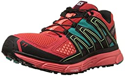 Salomon Women\'s X-Mission 3 W Trail Runner, Infrared/Coral Punch/Teal Blue Fabric, 8.5 D US