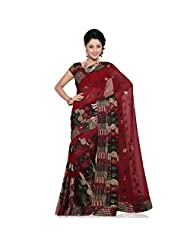 Indian Appreciable Red Colored Embroidered Faux Georgette Saree By Triveni