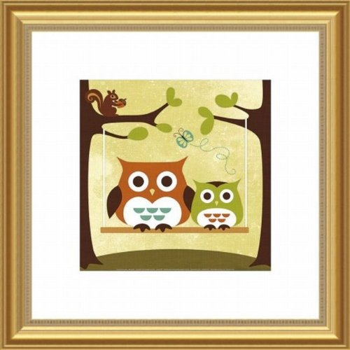 Barewalls Wall Decor, Two Owls on Swing