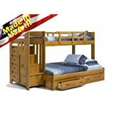 Solid Wood Reversible Stair Way Twin/Full Bunk Bed w/ Drawer, Under Bed Chest, Made in USA