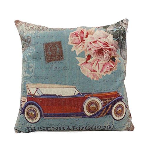 Embrace Cotton Linen Home Decorative Retro Antique Vehicle Sofa Square Pillowcase Fashion Pillow Cover Case 18