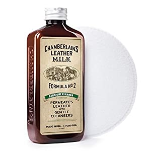 Straight Cleaner No. 2, | All Natural Leather Cleaner for Furniture, Couches, Auto Interiors, Handbags, Luggage, Purses, Shoes, Boots, Saddle, Car Seats, & Apparel. Now in 2 Sizes! Free Cleaning Pad!